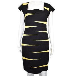 💜 INC 💜size 12 BLACK YELLOW SHEATH DRESS